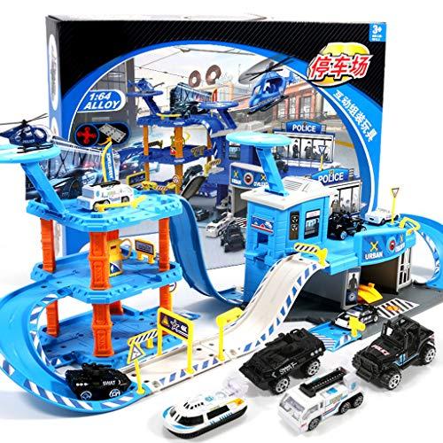 Siyushop Toy Playset Garaje, Policía Estacionamiento, Aparcamiento Infantil Lote Conjunto de Juguete, Autovía Boy Toy, (9 de aleación de Coches y 2 pasajeros / 15 de aleación de Coches y 2 aer