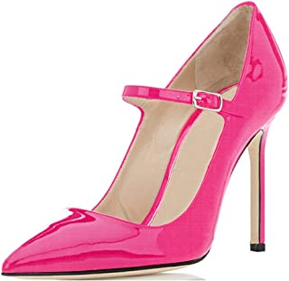 Women's Pointed Toe Mary Jane Pumps High Heel Shoe with Ankle Strap