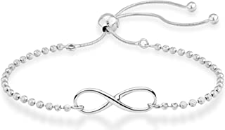 925 Sterling Silver Infinity Adjustable Bolo Beaded Ball...