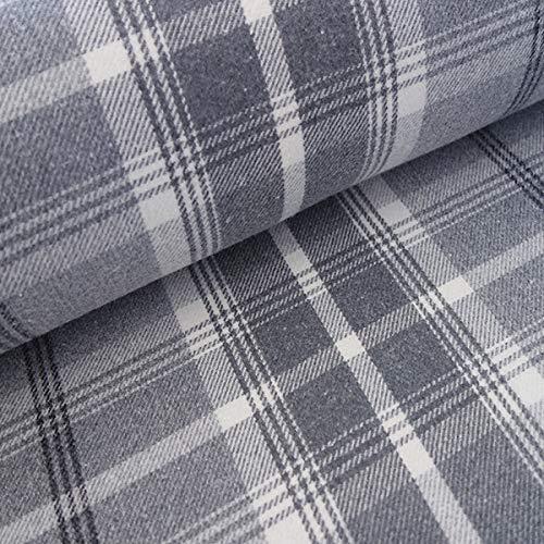 Balmoral Dove gris efecto de lana gruesa tartán Plaid lavable tapicería & cortina tela de diseño, Sample