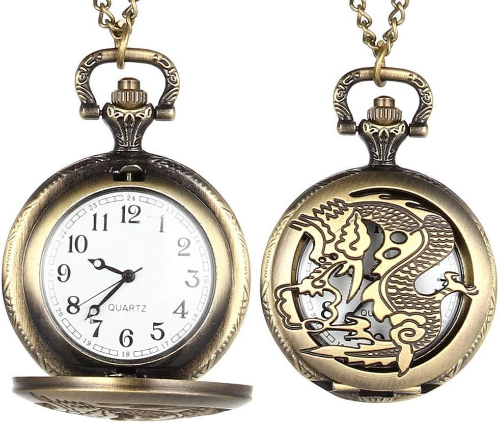 YHYHNE Vintage Quartz Tucson Mall Pocket Watch Dragon Flip Cover Out trust Hollow