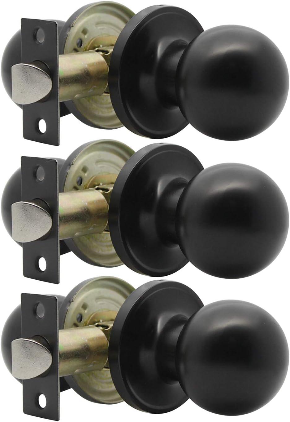 Ball Sichtschutz Badezimmer 607 matt schwarz Schlafzimmer T/ürgriff f/ür Innenraum T/ürknauf aus massivem Stahl