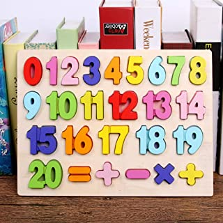 Kunmark Wooden Alphabet Puzzle ABC Jigsaws Chunky Letters Early Learning Toys for Kindergarten and Toddlers-est Educational Toy Preschool Learning, Spelling, Counting (1-20 Number)
