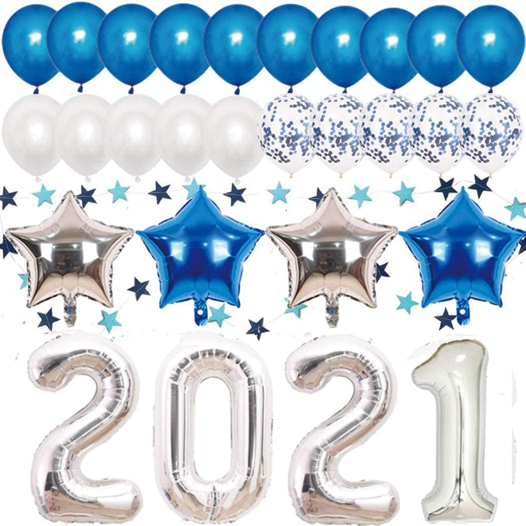 Rose Gold 2021 Balloons Kit 40In Number Foil Balloons Confetti Balloons for Happy New Years Eve Party Supplies 2021 Graduation Decorations Metallic Foil Fringe Backdrop