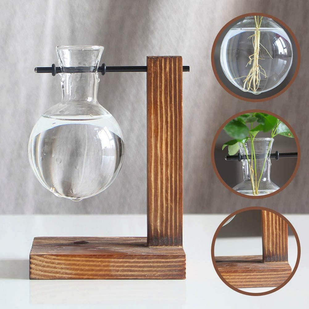 Glass Planter Bulb Vase Desktop Plant Terrarium Kit with Retro Solid Wooden Stand for Hydroponics Plants Home Garden Office Wedding Decor Style A