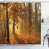 ABAKUHAUS Otoño Cortina de Baño, Brumosa otoñal Bosque, Material Resistente al Agua Durable Estampa Digital, 175 x 240 cm, Naranja Marrón Verde