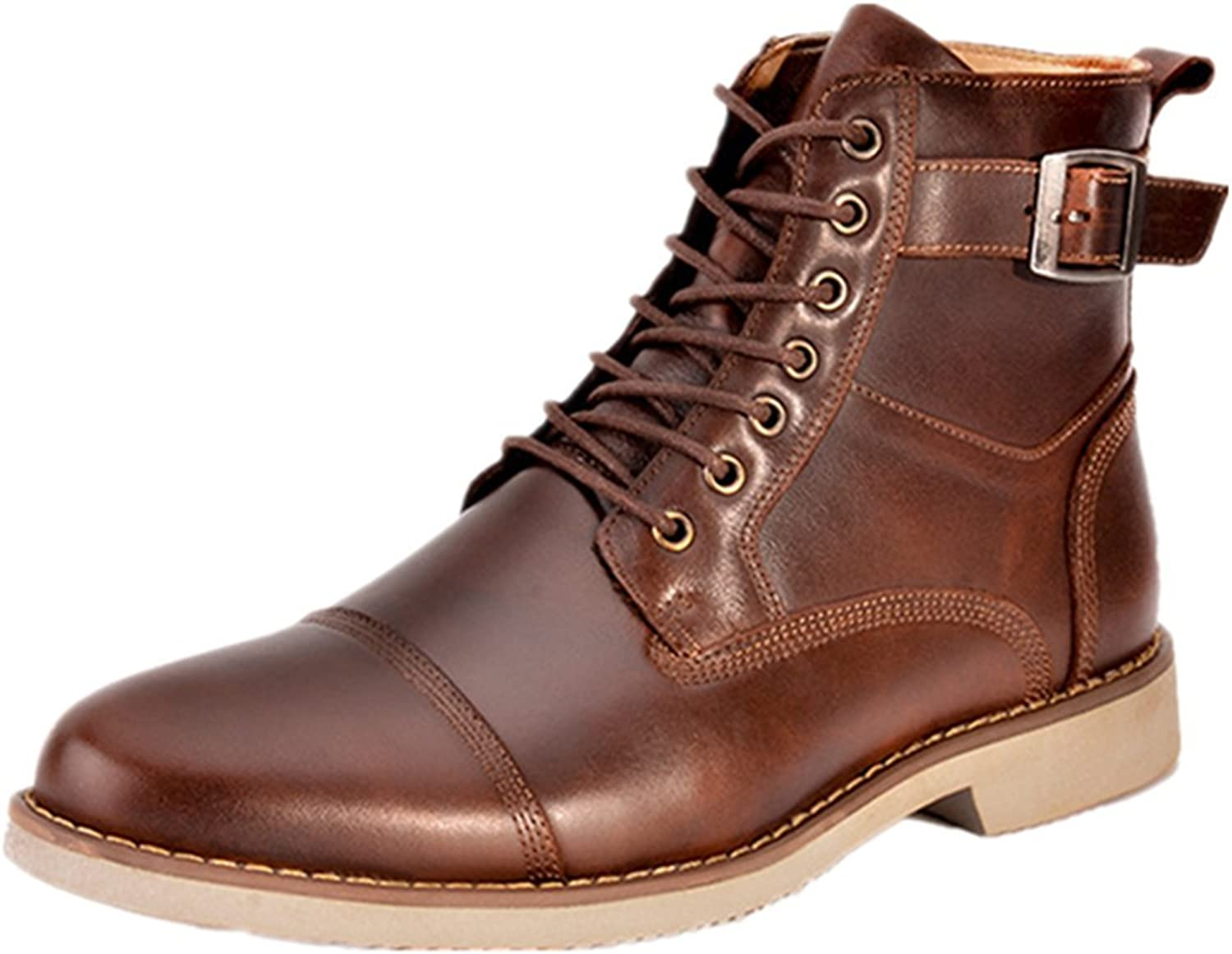 Jackdaine Men's high-top Leather Strap Men's Martin Boots Casual Leather shoes