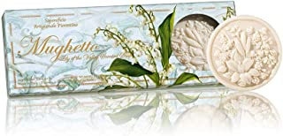 Saponificio Artigianale Fiorentino Lily of the Valley Round Sculpted Soap Set With Window, 375 Grams