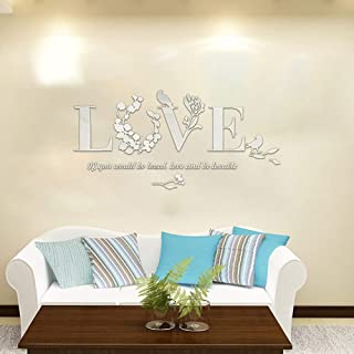 Iusun Wall Sticker D Leaf LOVE Wallpaper Removable DIY Mural Paper Decoration for Room Home Nursery Bedroom Office Supplies Decal - Ship From USA (White)