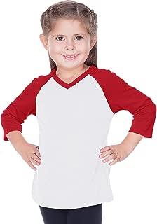! Little Girls 3-6X Sheer Jersey Contrast V Neck Raglan 3/4 Sleeve