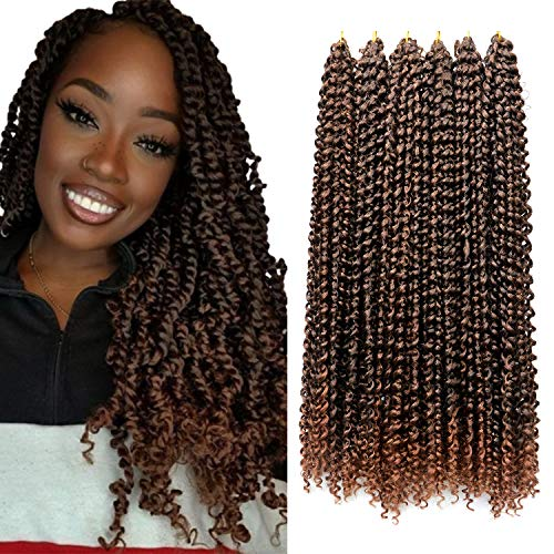 6 Packs Ombre Passion Twist Hair 18 Inch Water Wave Crochet Braiding Hair For Black Women 80g 1B/30 Ombre Chestnut Brown Human Crochet Hair Synthetic Hair Kanekalon Fiber Protective Hairstyle