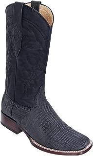 Genuine Lizard Teju Distressed Black Wide Square Toe Los Altos Men's Western Cowboy Boot 8220774