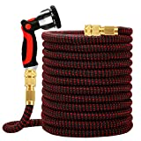 Worth 75FT Upgraded Expandable Garden Hose-3750D Polyester Cover Fabric,1/2'-3/4' Solid Brass Fittings, Lightweight, No-Kink Gardening Flexible Hose Pipe,10 Function Spray Nozzle Included