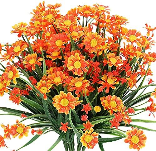 Ruiuzi Flores artificiales de margaritas al aire libre para decoración no se decolora, flores de plástico sintético, para jardín, porche, maceta, ventana, decoración (naranja rojo)