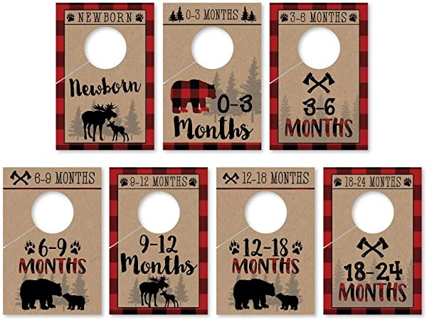 7 Lumberjack Baby Nursery Closet Organizer Dividers For Boy Clothing Age Size Hanger Organization For Kid Toddler Infant Newborn Clothes Must Have Shower Registry Gift Supplies Woodland 0 24 Months