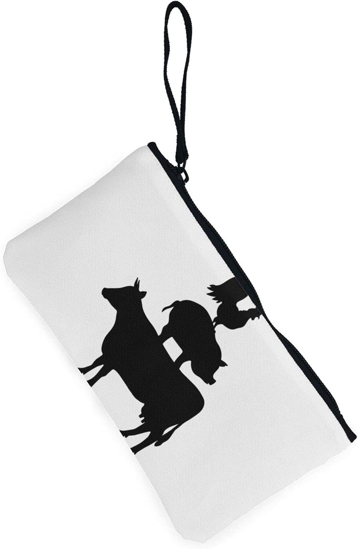 AORRUAM Cow pig chicken Canvas Coin Purse,Canvas Zipper Pencil Cases,Canvas Change Purse Pouch Mini Wallet Coin Bag