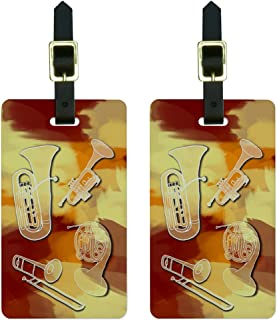 Graphics & More Brass Musical Instruments Band Orchestra Luggage Tags Id, White