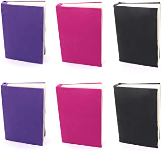 Omitfu 6 Pcs Stretchable Fabric Book Cover Fits Most Hardcover Textbooks up to 9 Inch x 11 Inch Washable Reusable School Book Protector (A)