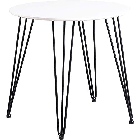 H.J WeDoo Ronde Table à Manger Design avec Pieds d'épingle à Cheveux Table de Cuisine Moderne Style Nordique 80 * 80 * 75 cm - Blanc
