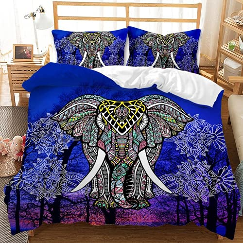 QQMHG Juego de cama 3D bohemio para niña con diseño de elefante, funda nórdica de 135 x 200 cm y 1 funda de almohada de 50 x 75 cm (A-1,200 x 200 cm + 2 x 50 x 75 cm)