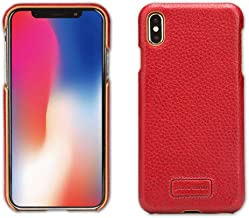 iPhone Xs Max Case, Pierre Cardin Premium Genuine Cow Leather with Snap On Hard Back Hard Case Cover Fit for Apple iPhone Xs Max(6.5