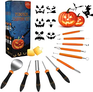 Pumpkin Carving Kit, Upgrade 19PCS Heavy Duty Stainless Steel Pumpkin Carving Tools for Halloween Jack-O-Lanterns,Professi...
