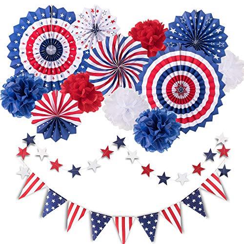 Whaline 14 St¨¹ck 4. Juli Patriotische Party-Dekorationsset Unabh?ngigkeit Tag Party H?ngende Papier-Fans, Papierblumen-B?lle, Stern-Luftschlangen, USA-Flagge, Wimpelkette Party Favors