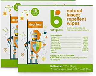 Babyganics Insect Wipes, 15 ct, 2 Pack, Packaging May Vary