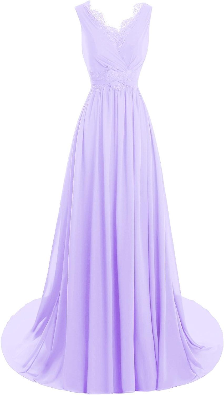 Bess Bridal Women's Lace V Neck Back Formal Long Evening Dresses