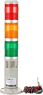uxcell Warning Light Bulb Flashing Industrial Signal Tower Lamp Buzzer 90dB DC12V Red Green Yellow TB50-3W-E-J