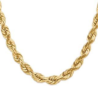 14k Yellow Gold 10mm Rope Chain Necklace