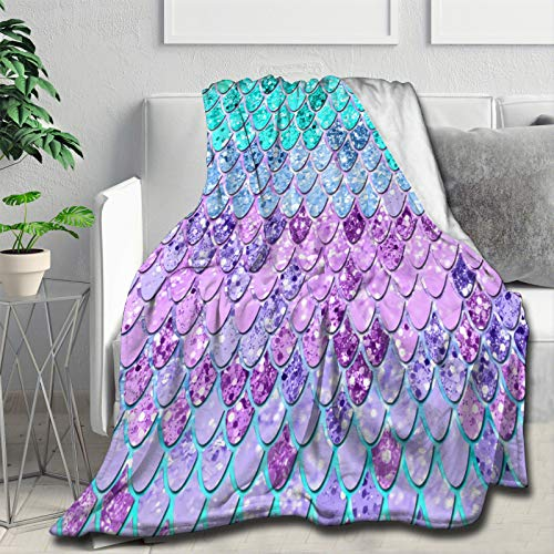 """Mermaid Scales with Galaxy Flannel Throw Blanket, Ultra Soft Lightweight Microfiber Fleece Blanket Perfect for Couch Sofa Bed S (50""""x40"""")"""