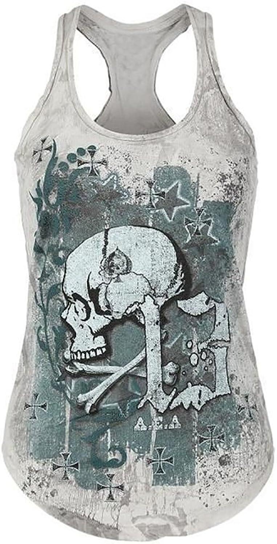 Beautife Women's Skull Print Lace Shirt Patchwork Sleeveless Tank Tops Plus Size
