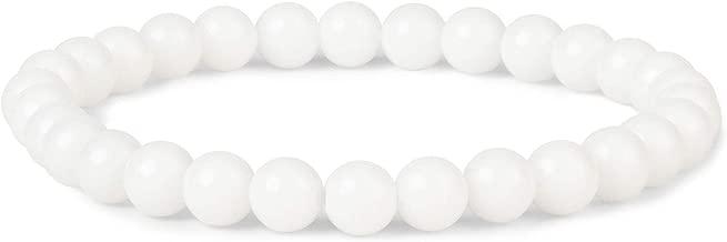 J.Fée Bracelet 6mm Semi Précieux Bracelet de Perles Bracelet Naturel Bracelet élastique Bracelet de Guérison Bracelet Femme Cadeau d'anniversaire Unisexe