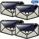 【4 Stück】Solarleuchten für Außen 150 LED, HETP【6 - Seitliche-Beleuchtung】Solarlampen für Außen mit Bewegungsmelder【Superhelle 1500LM】Solarlampe Wandleuchte Wasserdicht Wireless - 3 Verschiedene Licht