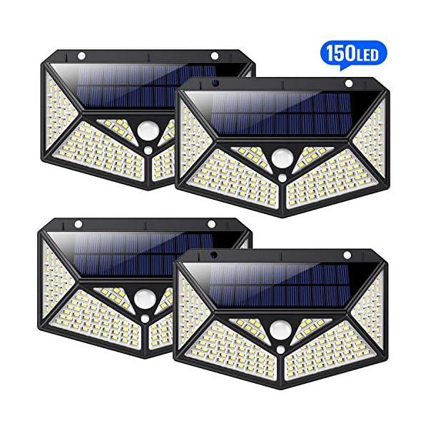 4-StckSolarleuchten-fr-Auen-150-LED-HETP6-Seitliche-BeleuchtungSolarlampen-fr-Auen-mit-BewegungsmelderSuperhelle-1500LMSolarlampe-Wandleuchte-Wasserdicht-Wireless-3-Verschiedene-Licht