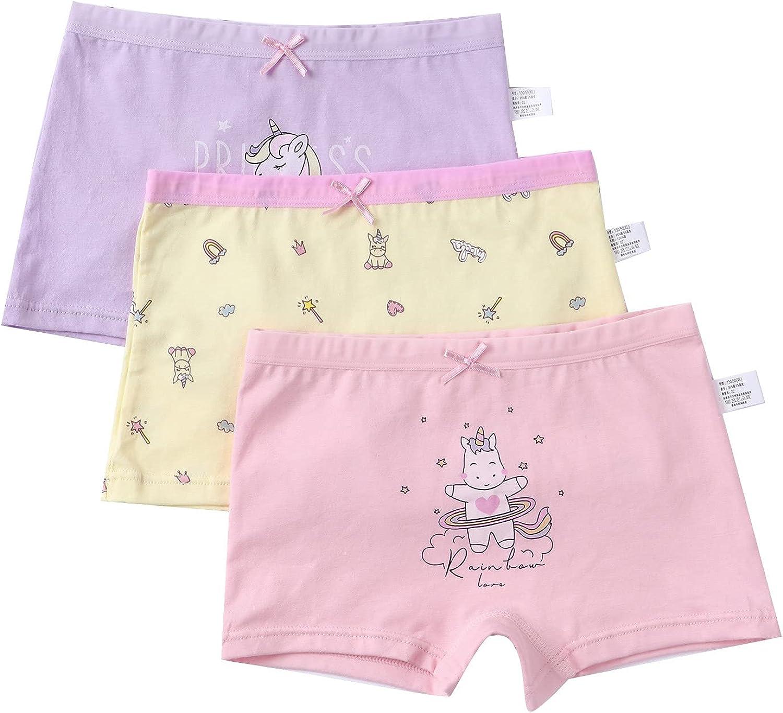 FEESHOW Little Kids Girls Boyshort Panties Briefs Soft 100% Cotton Cartoon Pattern Print Underwear Undies 3-12Y 3 Pack