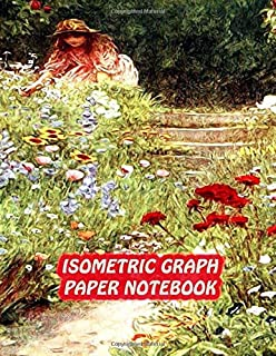 Isometric Graph Paper Notebook: Drawing Dot Grid 8.5x11 Landscape Journal 100 sheets | Gardening Cover Print