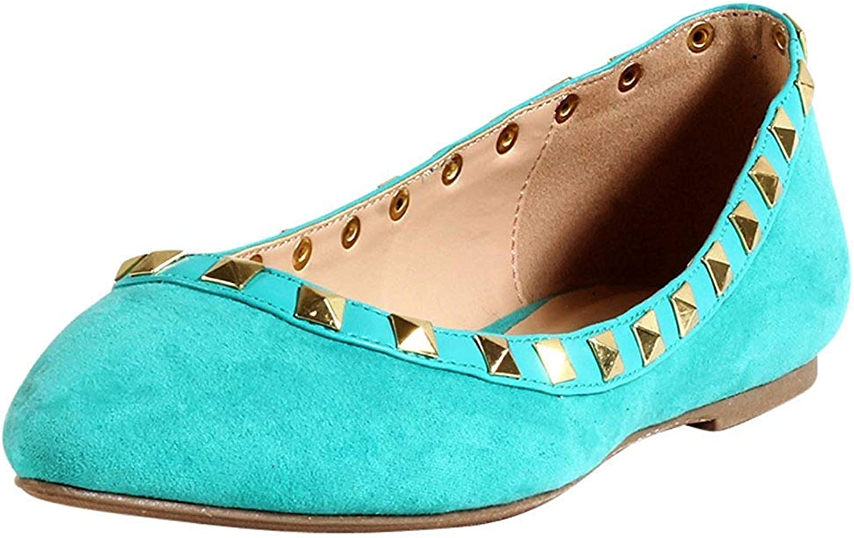 Wild Diva Womens Fashion Pippa 35 Studs Pointy T Bar Flats shoes