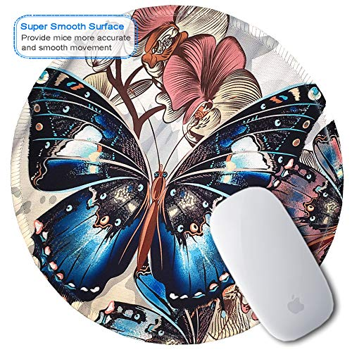 BOSOBO Mouse Pad, Round Butterfly Mouse Mat, Cute Mousepad with Designs, Small Non-Slip Rubber Mouse Pad with Stitched Edges, Customized Mouse Pad for Women Girls Office Computer Laptop Travel Working Photo #6