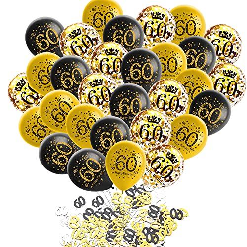 60 Geburtstag Dekor Schwarz Gold,30 Stück Luftballons 60 Geburtstag,Deko 60 Geburtstag Konfetti Luftballons Set,Geburtstagsdeko Helium Ballon für Mann Frau - 12 Zoll