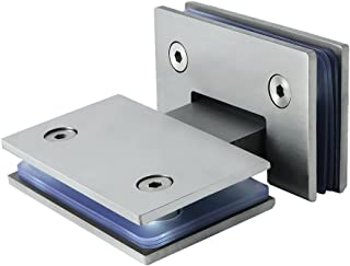 Sayayo 180 Degree Glass Clamp Glass Hinge for Glass Door/Glass Showcase/Glass Cabinet Door Wall Mounted, 4MM Thick Stainless Steel Brushed Finished, AL6600BL