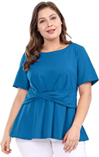 uxcell Women's Plus Size Short Sleeves Twisted Knot Front Peplum Top