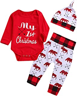 Baby Boys Girls My 1st Christmas Outfits Romper+Plaid Pants+Hat 3Pcs Clothes Set