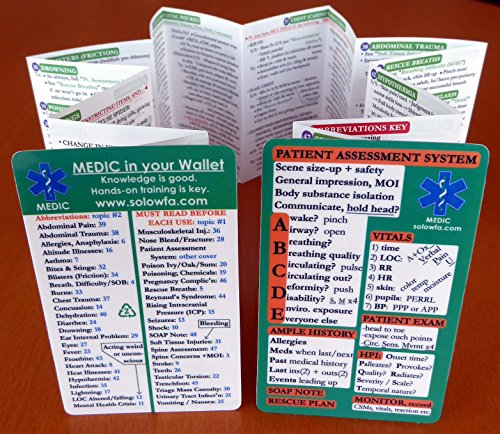 First aid pocket guide 'MEDIC in your Wallet' ~ FITS IN YOUR WALLET, so it's ALWAYS WITH YOU. 48 topics in Home / Disaster First Aid / Travel First Aid / Wilderness First Aid / Rural Living First Aid