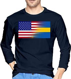American Flag Swedish Flag Men's Long Sleeve T Shirts Casual Cycling Tops