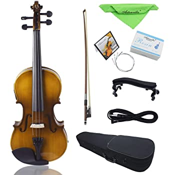 ammoon 4/4 - Kit de violín eléctrico de tamaño completo para violín de madera maciza con arco rígido para el hombro, cable de audio extra con cuerdas, paño limpio, atardecer retro: Amazon.es: