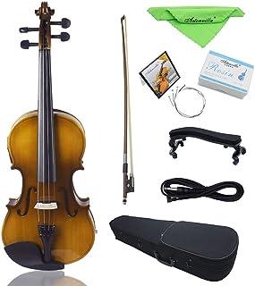ammoon 4/4 - Kit de violín eléctrico de tamaño completo para violín de madera maciza con arco rígido para el hombro, cable de audio extra con cuerdas, paño limpio, atardecer retro