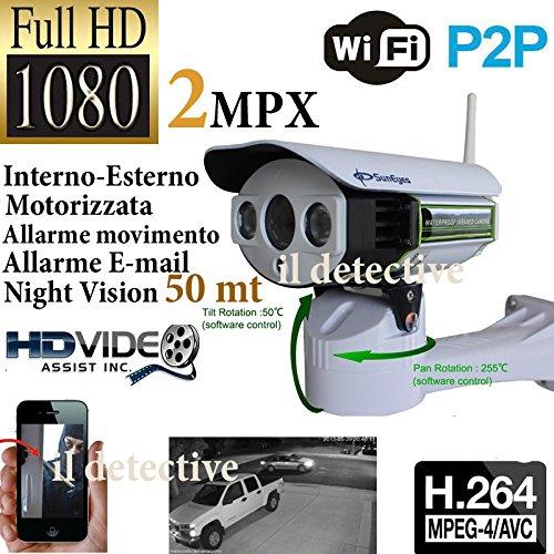 TELECAMERA IP CAMERA FULL HD 1920*1080 2 MPX PER ESTERNO WIRELESS LED IR LAN MOTORIZZATA WIFI INFRAROSSI