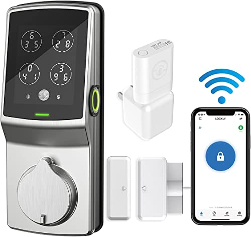 Lockly Secure Pro PGD728W Wi-Fi Smart DeadBolt Fingerprint, Entry Keyless Door Lock with Patented Keypad | Works with Alexa and Google Assistant (Satin Nickel)